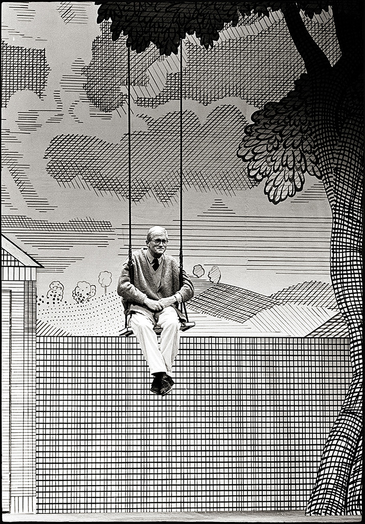 David Hockney on the set of The Rakes Progress Opera, which he d